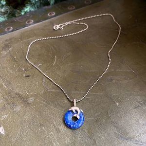 Vintage sterling silver lapis dolphin necklace